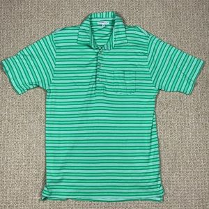Peter Millar green & white striped polo shirt L